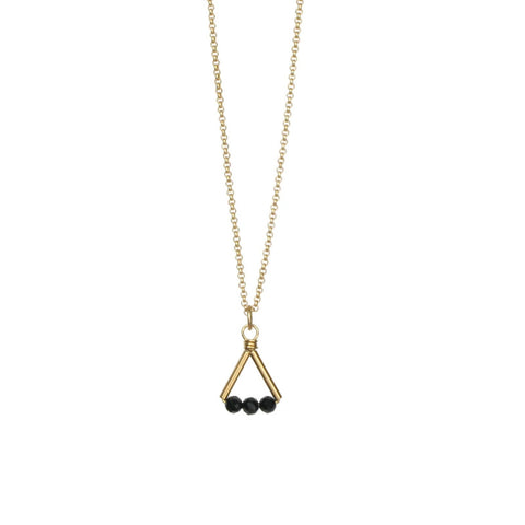 Lin Necklace Gold/Black Spinel