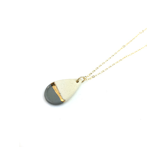 Teardrop Grey/Gold Line Necklace
