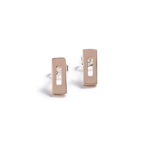 Mini Rectangle Stud bronze earrings