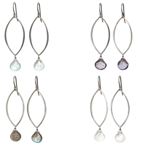 Natalia Gemstone Earrings: Silver & Labradorite