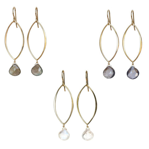 Natalia Gemstone Earrings: Gold & Rainbow Moonstone