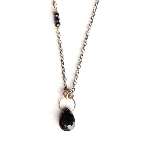 Gemstone Drop Black Spinel Necklace
