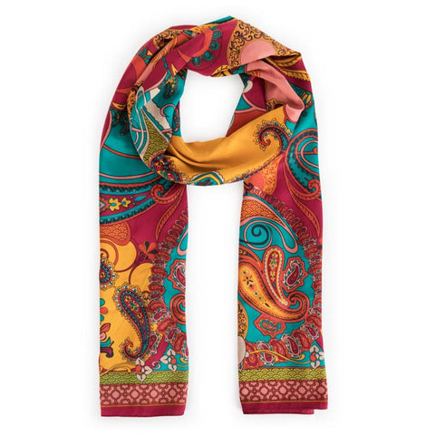 Satin Berry Paisley Scarf