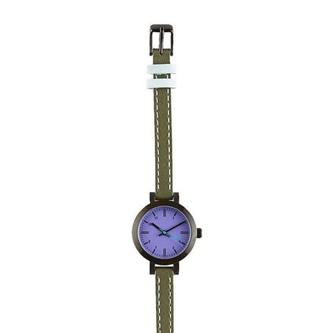 Lexington Leather Watch: Purple/Olive