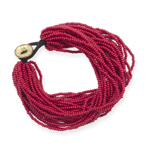 Multi-Layer Seed Bead Red Bracelet