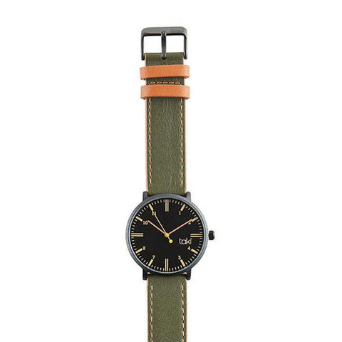 Rockford Leather Watch: Black/Olive