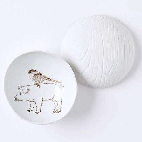 Woodgrain Dish Pig & Bird