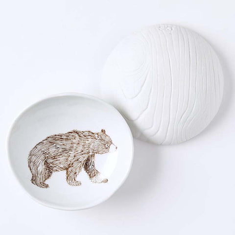 Woodgrain Dish Bear
