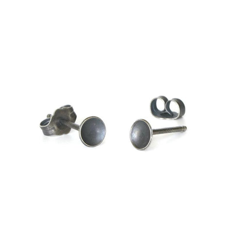 Small silver disc studs
