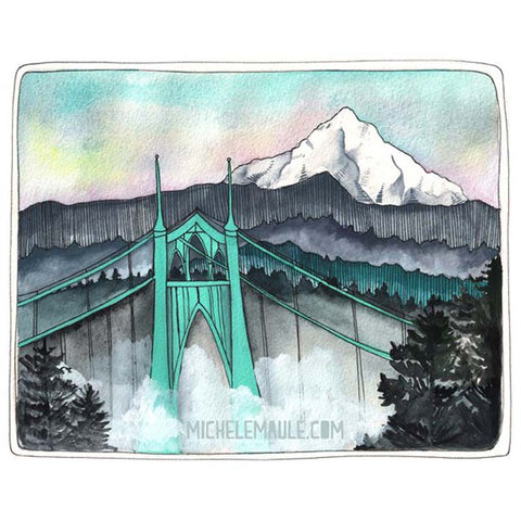 St Johns Bridge with Mt Hood 8x10 Print