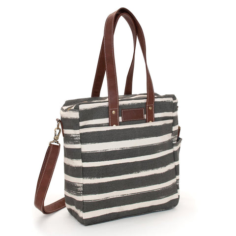 Commuter Tote: Stripes Charcoal