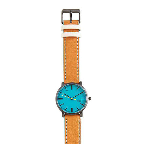 Loring Leather Watch: Turquoise/Tan