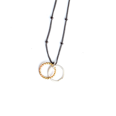 Oxidized satellite chain gold twist silver ring necklace