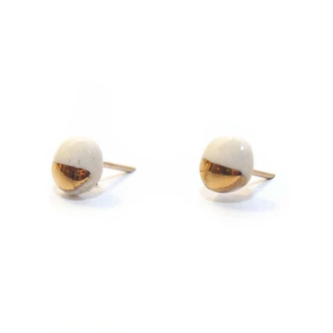 Tiny Pebble White/Gold Stud Earrings
