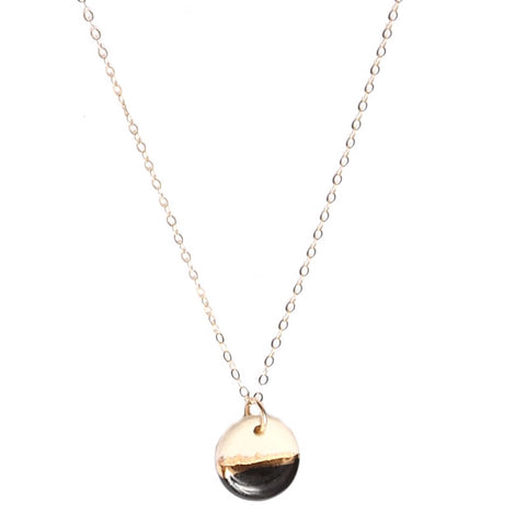 Tiny Pebble Drop Black/Gold Line Necklace