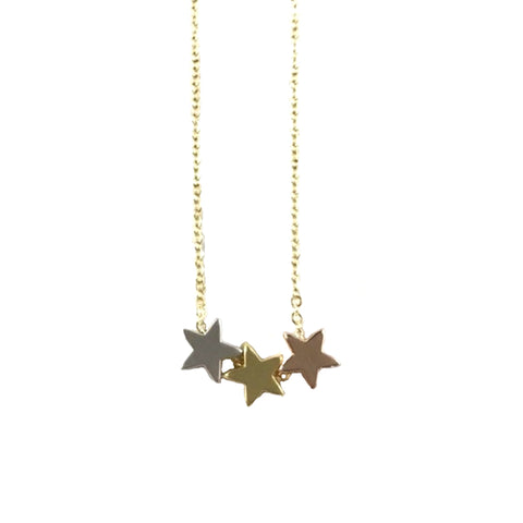 Stars Triple Mixed Metals Necklace (Gold Chain)
