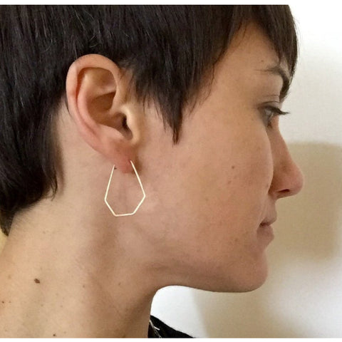 Geometric Hoop Gold Earrings