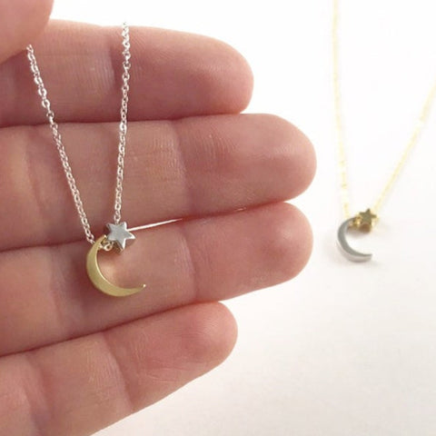 Moon and Star Necklace (Gold Chain)