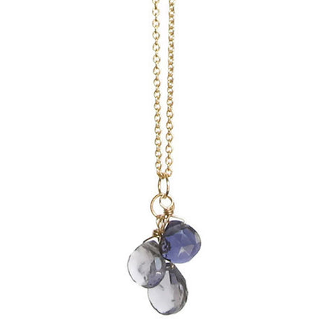 Julia Gemstone Necklace: Gold & Iolite