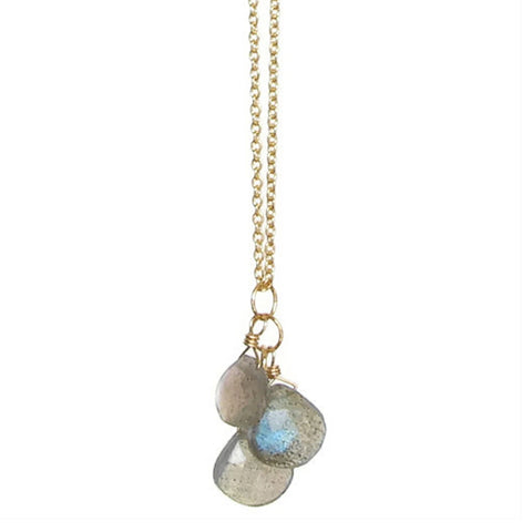 Julia Gemstone Necklace: Gold & Labradorite