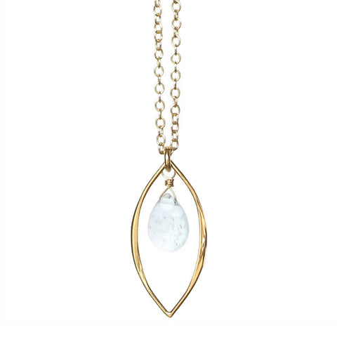 Kendra Gemstone Necklace: Gold & Aquamarine