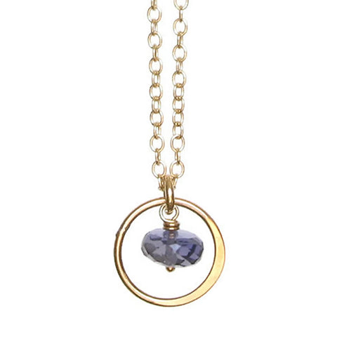 Layna Gemstone Necklace: Gold & Iolite
