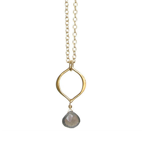 Tamara Gemstone Necklace: Gold & Labradorite