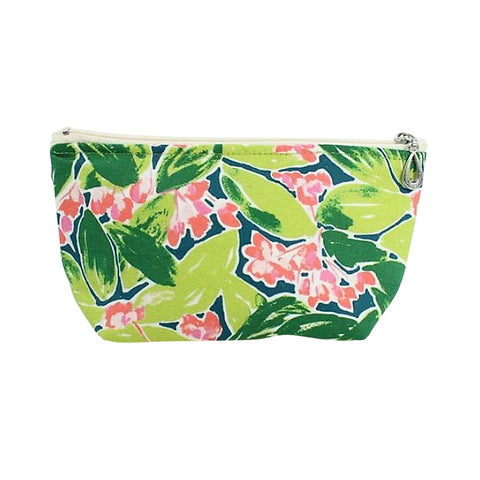 Small Cosmetic Bag Coral/Green Floral