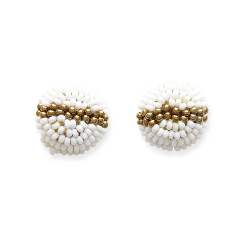 Button White/Gold Earrings