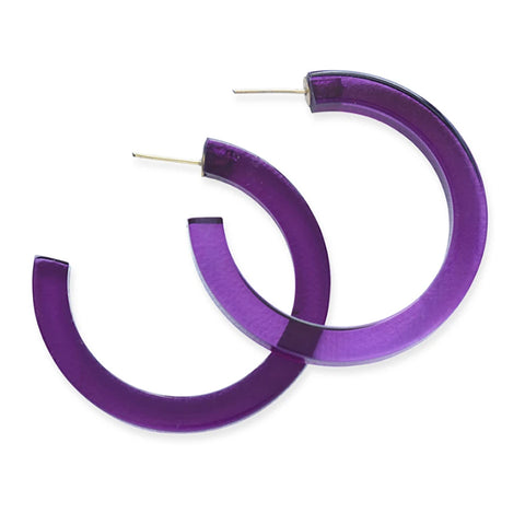 "Lucite Small Hoop Earring 2"" Eggplant"