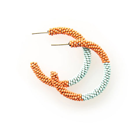 "Color Block Small Hoop Earrings 1.25"" Coral/Light Blue"
