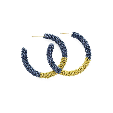 "Color Block Small Hoop Earrings 1.25"" Navy/Citron"