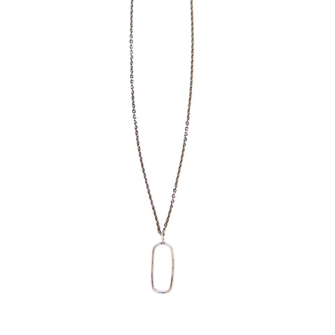 Small Open Rectangle Necklace: Sterling Silver
