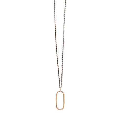 Small Open Rectangle Necklace: Yellow Bronze