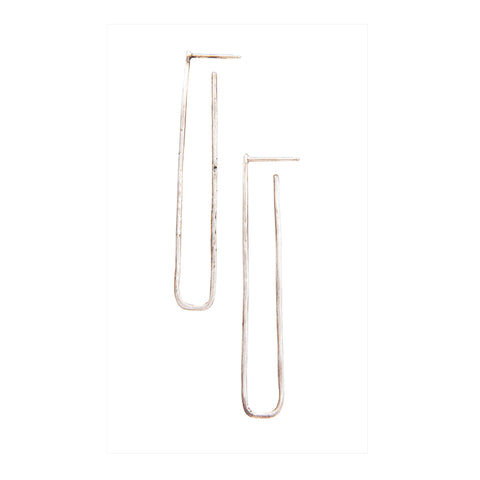 Extra Long Rectangle Stud Earrings: Sterling Silver