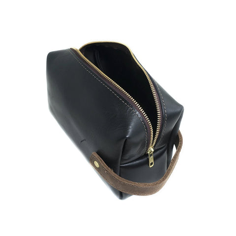 High Line Zippered Leather Dopp Bag Black