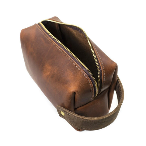 High Line Zippered Leather Dopp Bag Saddle
