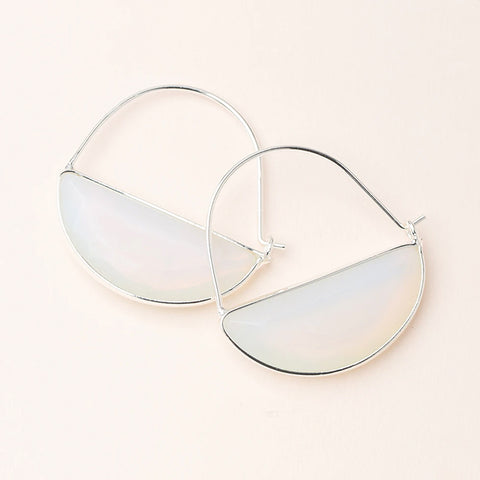 Stone Prism Hoops - Opalite/Silver