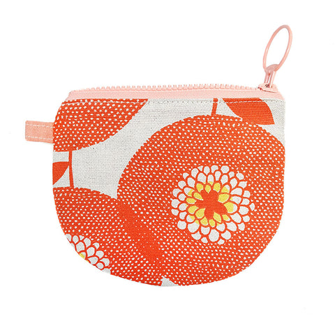 Small Zip Pouch Flower Fields Persimmon