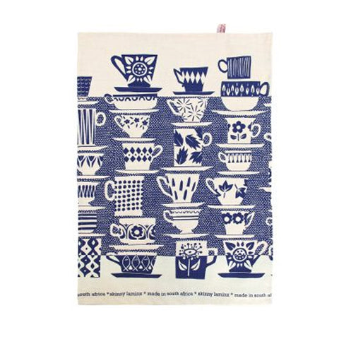 TEA TOWEL: When Everyone Came To Tea Inky Blue