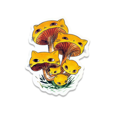 STICKER: Meowshrooms Chanterelles by Stasia Burrington