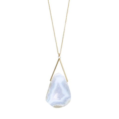Lago Gold Necklace Blue Lace Agate