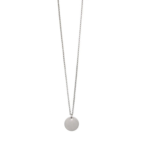 Simple Disc Silver Necklace
