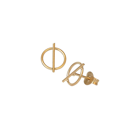 STUDS: Circle & Line Gold Earrings