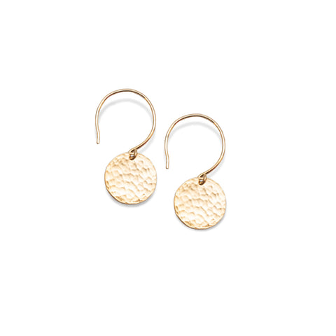 Hammered Single Disc Earrings Gold