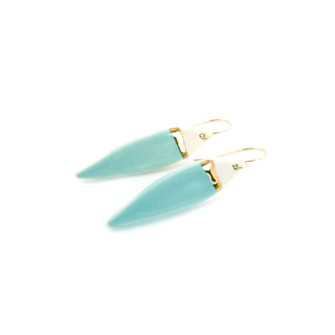 Feather Teal/Gold Line Earrings