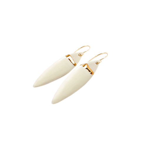 Feather White/Gold Line Earrings