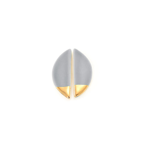 Large Half Pebble Grey/Gold Stud Earrings