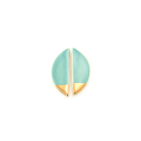Large Half Pebble Teal/Gold Stud Earrings