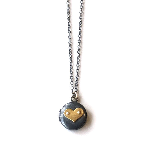Heart Locket Small Round Necklace (Black/Gold)